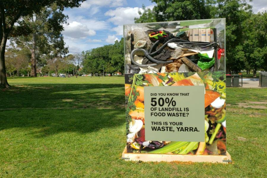 Food waste box highlighting fifty per cent of waste to landfill is food