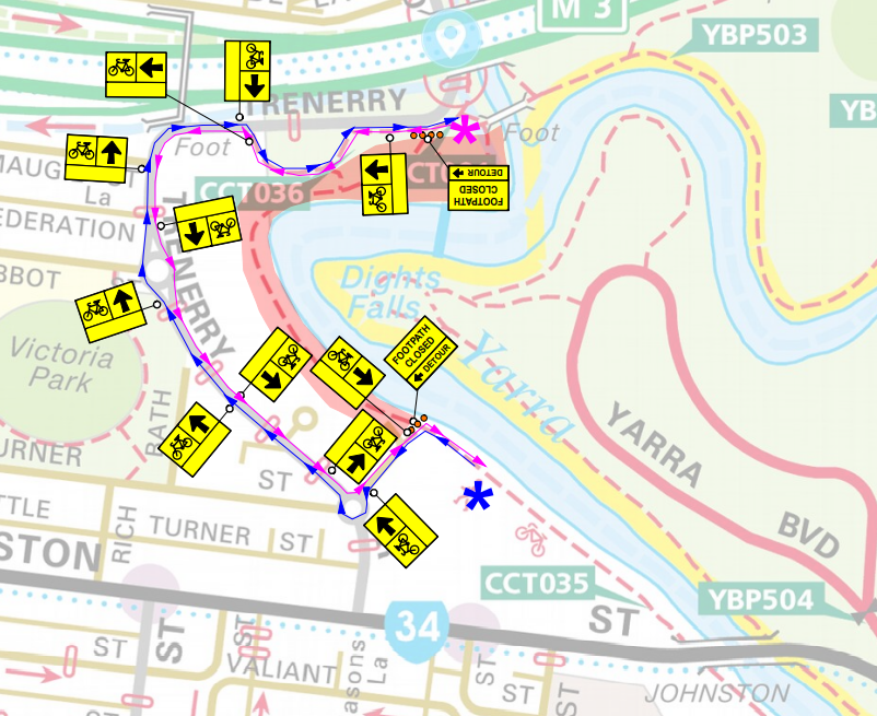 Map of bike path changes during erosion control works along the Yarra River from Dight Falls to Turner Street in Abbotsford