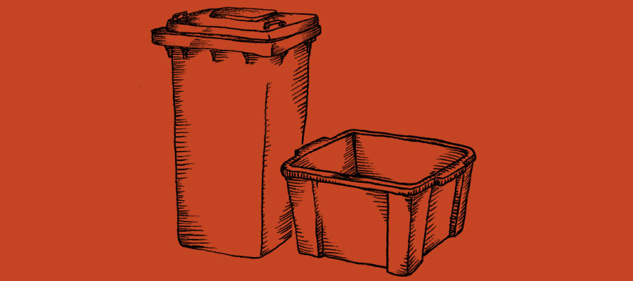 Drawing of bins on red background