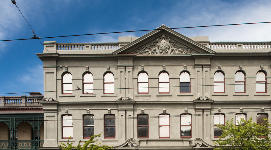 street view of heritage building, cathedral hall, Fitzroy